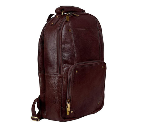 Compact Leather Backpack, Brown - ZipperNext