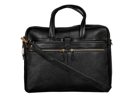 Leather Professional Bag, Black - ZipperNext