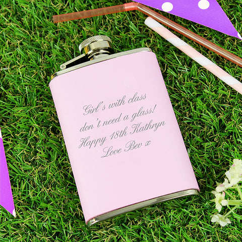 Personalised 'Any Message' Pink Hip Flask