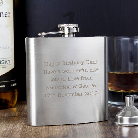 Personalised 'Any Message' Block Font Hip Flask
