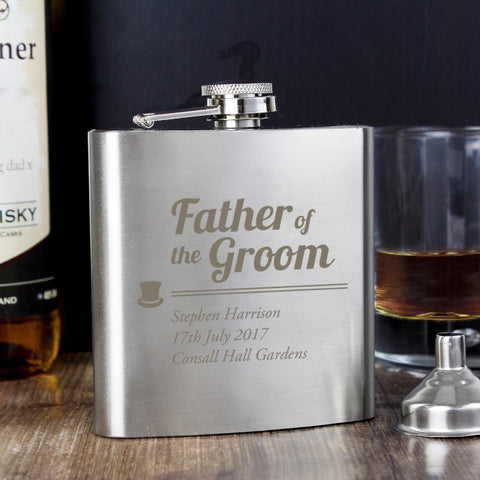 Personalised 'Father of the Groom' Hip Flask
