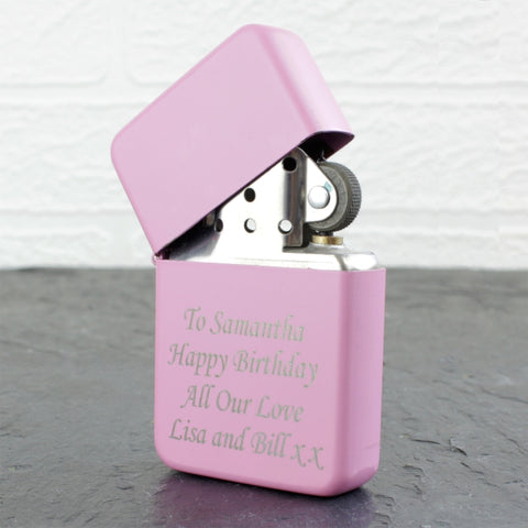 Personalised 'Any Message' Pink Lighter