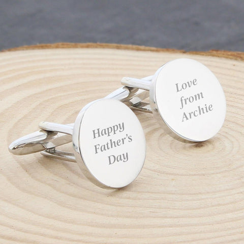 Personalised 'Any Message' Round Cuff-links