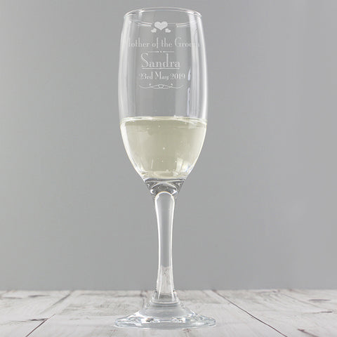 Personalised Decorative 'Mother Of The Groom' Glass Flute