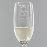 Personalised Decorative 'Bride' Glass Flute