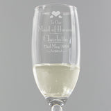 Personalised Decorative 'Maid Of Honour' Glass Flute