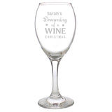 Personalised Dreaming of a Wine Christmas Wine Glass