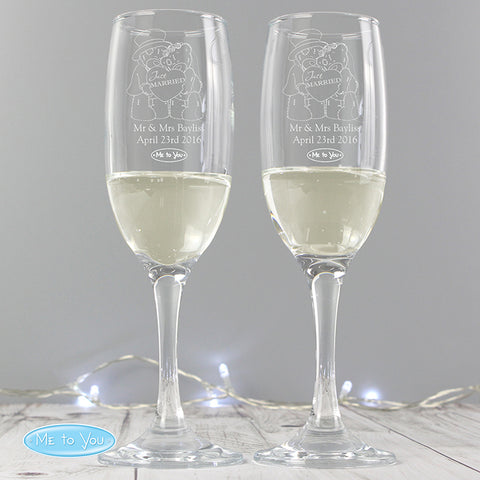 Personalised Me To You 'Any Message' Pair of Flutes