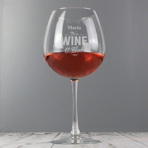 Personalised 'It's Wine O'Clock' Wine Glass