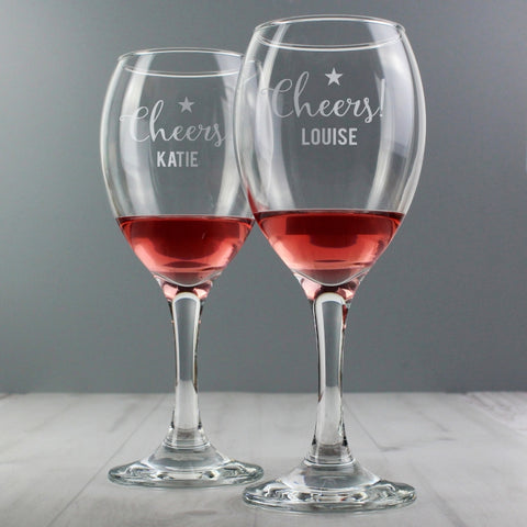Personalised 'Cheers' Wine Glass Set