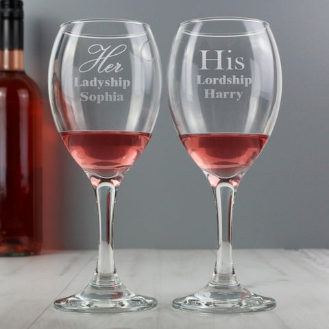 Personalised 'His & Her Lordship & Ladyship' Wine Glass Set