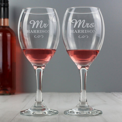 Personalised 'Mr & Mrs' Wine Glass Set