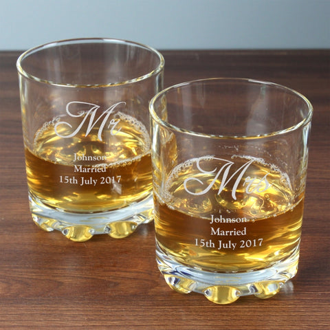 Personalised 'Mr & Mrs' Pair Of Tumblers