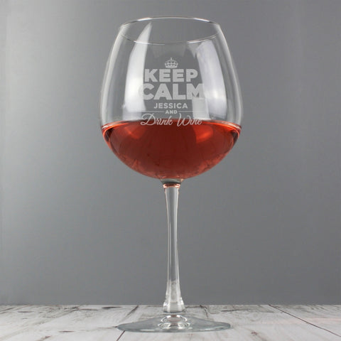 Personalised 'KEEP CALM AND DRINK WINE' Glass