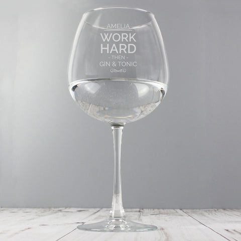 Personalised 'WORK HARD THEN' Balloon Glass