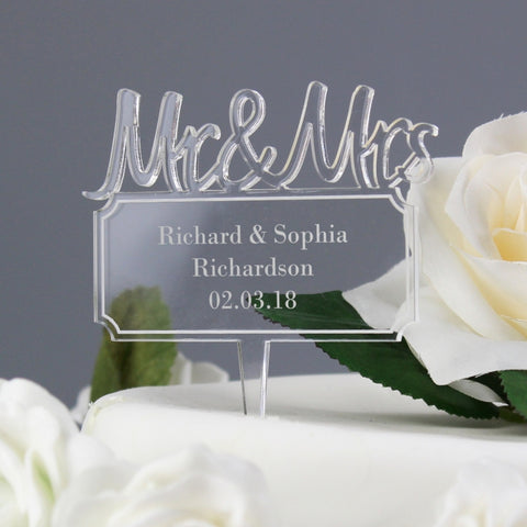 Personalised 'Mr & Mrs' Plaque Acrylic Cake Topper