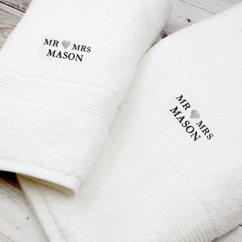 Personalised 'Mr & Mrs' Heart Hand and Bath Towel Set