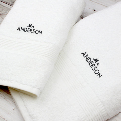 Personalised 'Mr' Hand and Bath Towel Set