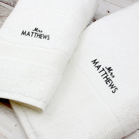 Personalised 'Mrs' Hand and Bath Towel Set