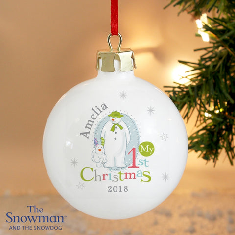 Personalised Snowman and Snowdog My 1st Christmas Bauble