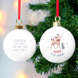 Personalised 1st Christmas Festive Fawn Bauble