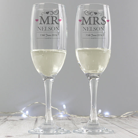 Personalised 'Mr & Mrs' Heart Pair Of Flutes