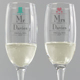 Personalised Decorative 'Mr & Mrs' Pair Of Flutes
