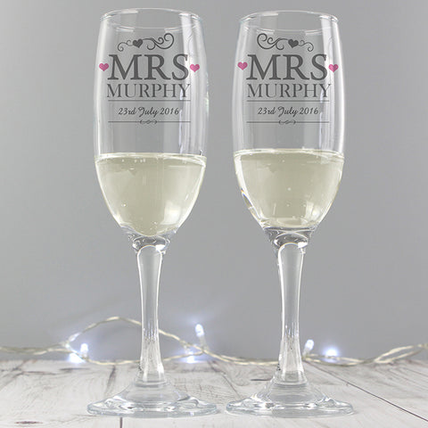 Personalised 'Mrs & Mrs' Pair of Flutes