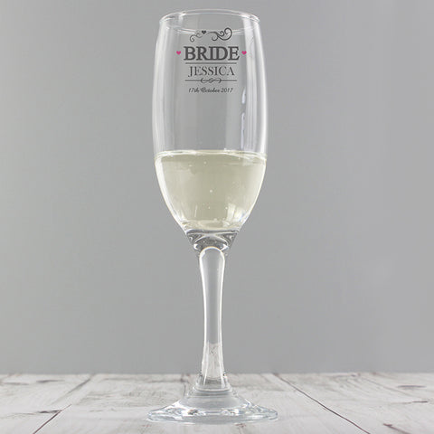 Personalised 'Bride' Hearts Glass Flute
