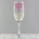 Personalised 'Any Message' Pink Banner Glass Flute