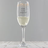 Personalised 'Any Message' Gold Stars Glass Flute