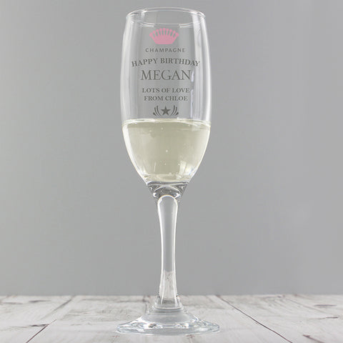 Personalised 'CHAMPAGNE' Crown Glass Flute