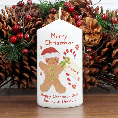 Personalised Gingerbread Man Candle