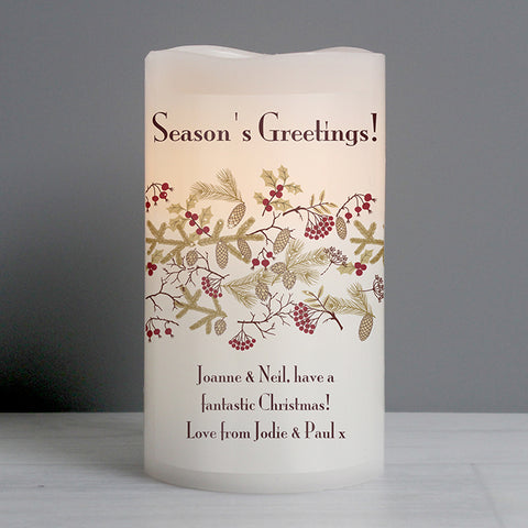 Personalised Christmas Floral LED Candle