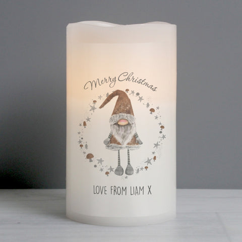 Personalised Christmas Gnome LED Candle