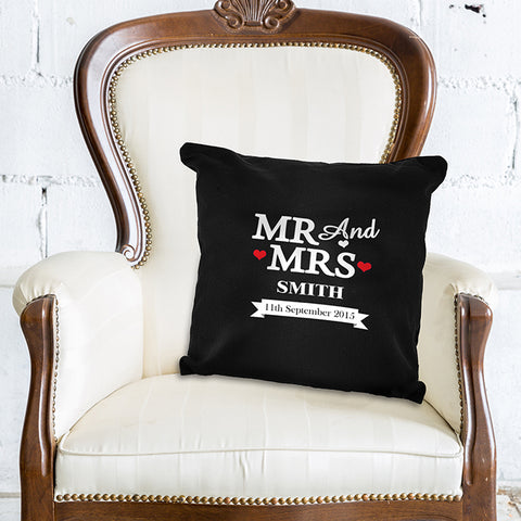 Personalised 'Mr And Mrs' Black/White Cushion Cover