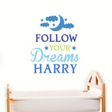 Personalised 'Follow Your Dreams' Blue/Pink Wall Art