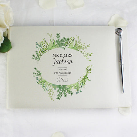 Personalised Botanical Guest Book & Pen