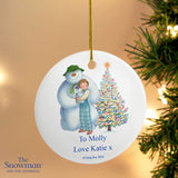 Personalised Snowman and Snowdog Round Ceramic Decoration