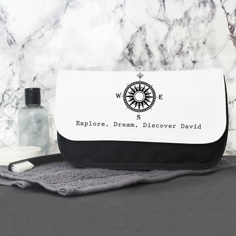 Personalised Compass Wash Bag