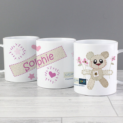 Personalised Cotton Zoo Tweed the Bear Girls Plastic Mug