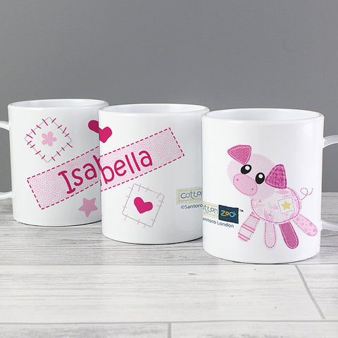 Personalised Cotton Zoo Organdie Plastic Mug