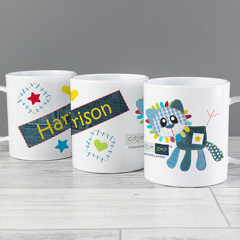 Personalised Cotton Zoo Denim the Lion Plastic Mug