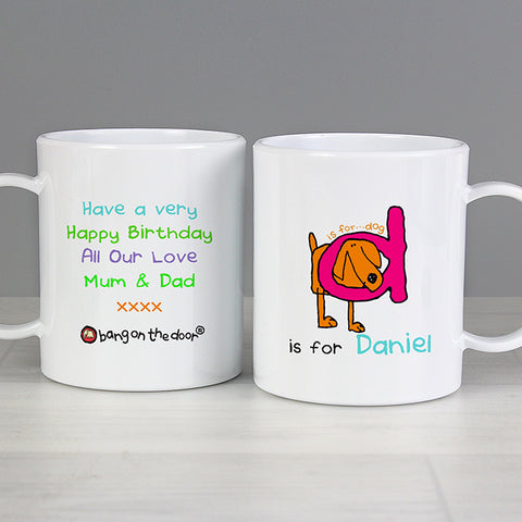 Personalised Bang On The Door Animal Alphabet Boys Plastic Mug