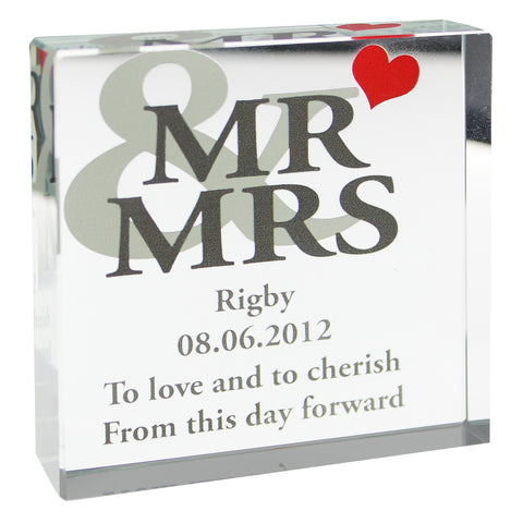 Personalised 'Mr & Mrs' Large Crystal Token