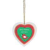Personalised Christmas Bird Wooden Heart Decoration