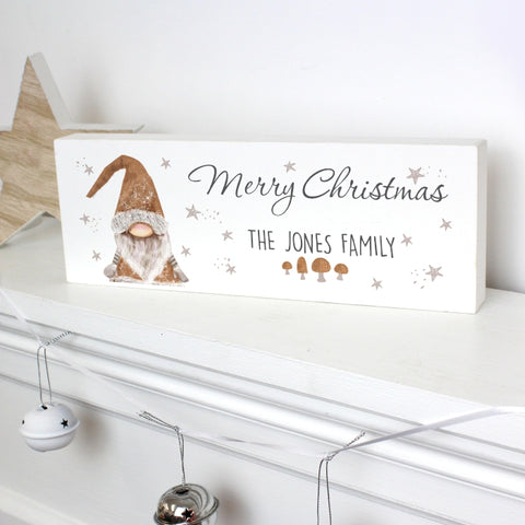 Personalised Christmas Gnome Wooden Block Sign