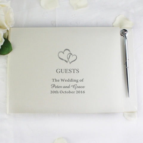 Personalised Hearts Guest Book & Pen