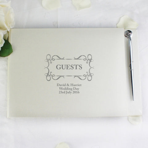 Personalised Swirl Guest Book & Pen