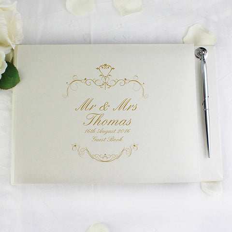 Personalised Ornate Swirl Gold/Black Guest Book & Pen